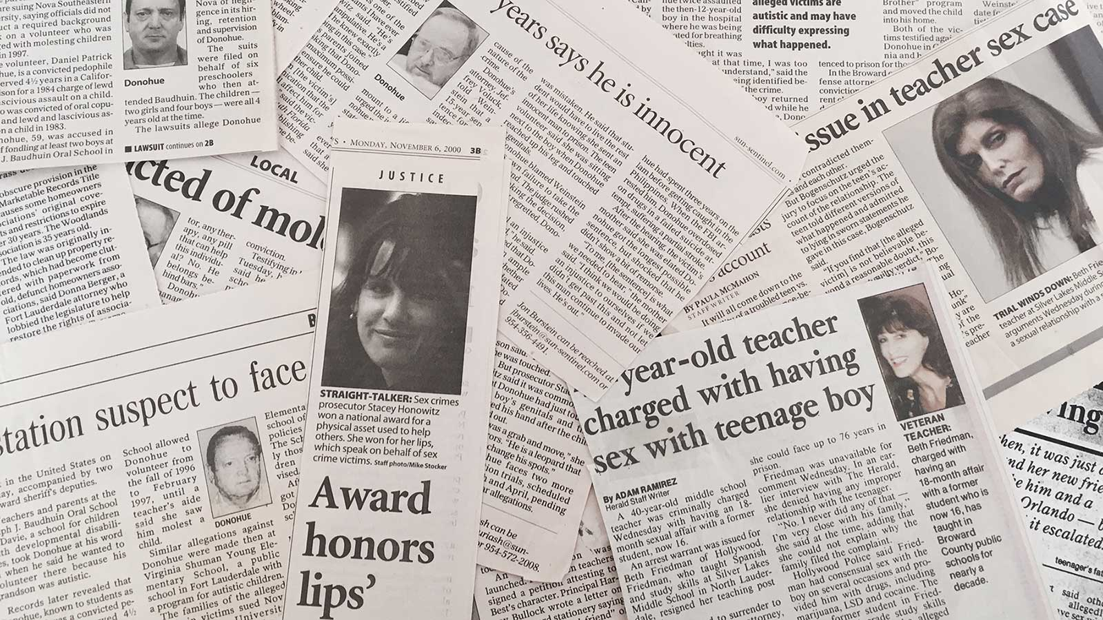 Newspaper aricles by and for Stacey Honowitz